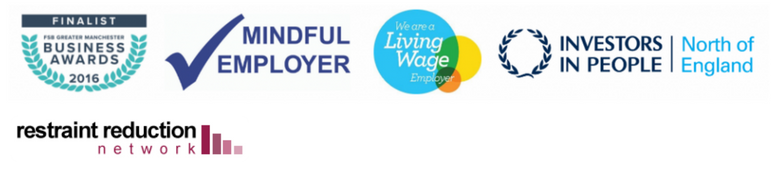 All of Care in Mind's Accreditations: Mindful Employer, Living Wage Employer, Investors in People, Restraint Reduction Network.