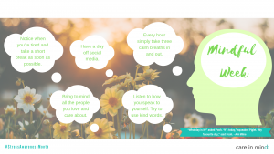 Care in Mind's poster on Mindful Week, with some tips on how to be mindful of both yourself and others as part of Stress Awareness Month