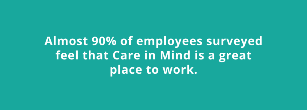 Investors in People statistic: Almost 90% of employees surveyed feel that Care in Mind is a great place to work.